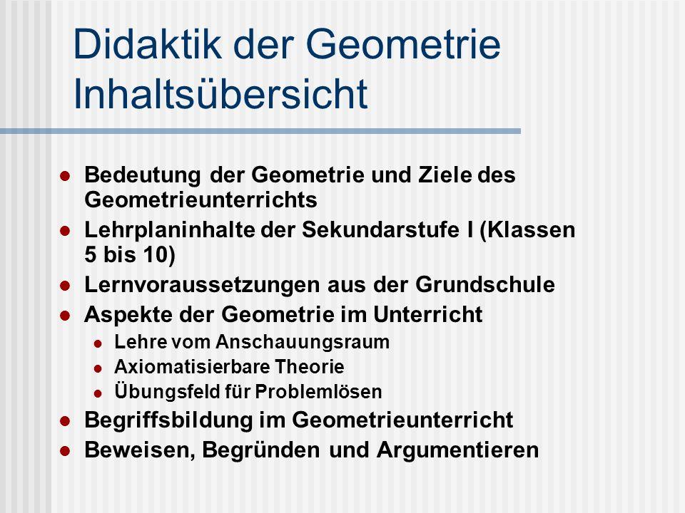 Didaktik der Geometrie Inhaltsübersicht Bedeutung der Geometrie und Ziele des Geometrieunterrichts Lehrplaninhalte der Sekundarstufe I (Klassen 5 bis