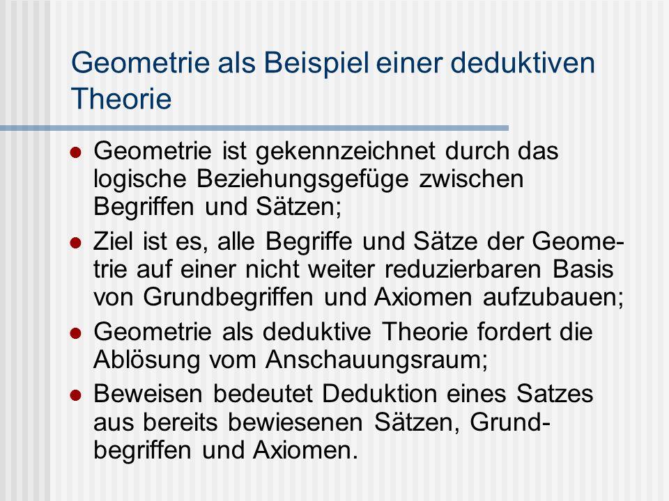 Geometrie als Beispiel einer deduktiven Theorie Geometrie ist gekennzeichnet durch das logische Beziehungsgefüge zwischen Begriffen und Sätzen; Ziel i
