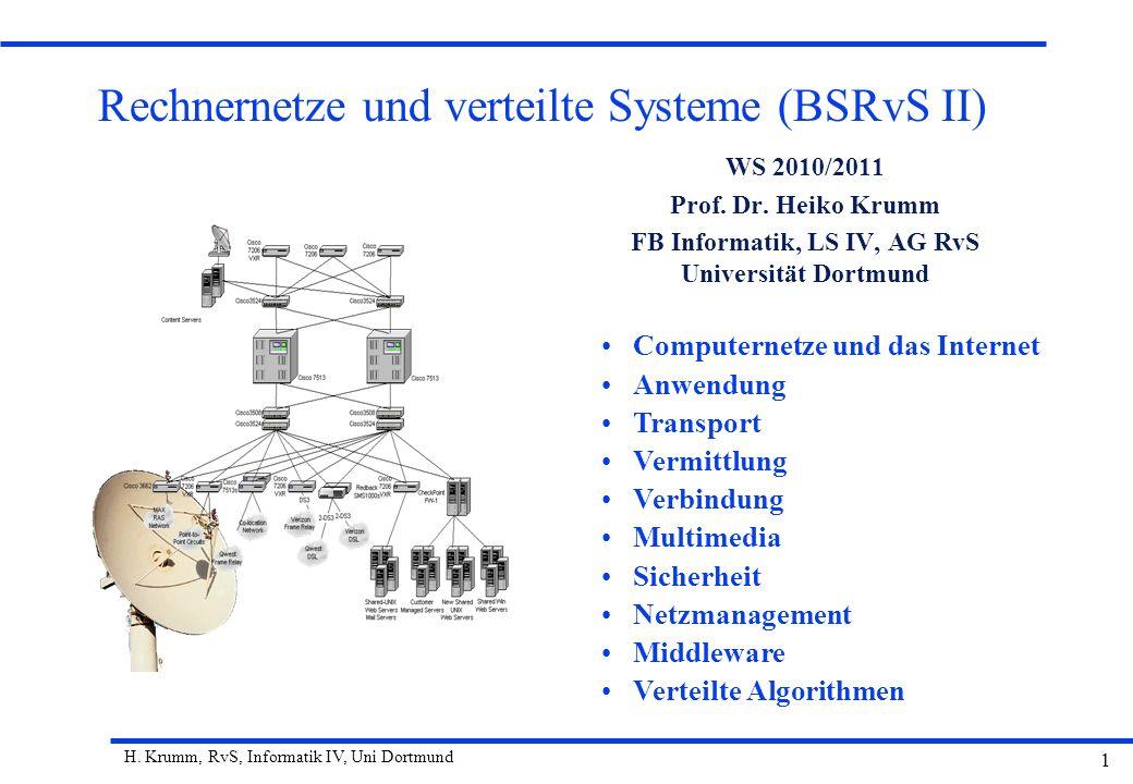 H. Krumm, RvS, Informatik IV, Uni Dortmund 1 Rechnernetze und verteilte Systeme (BSRvS II) WS 2010/2011 Prof. Dr. Heiko Krumm FB Informatik, LS IV, AG