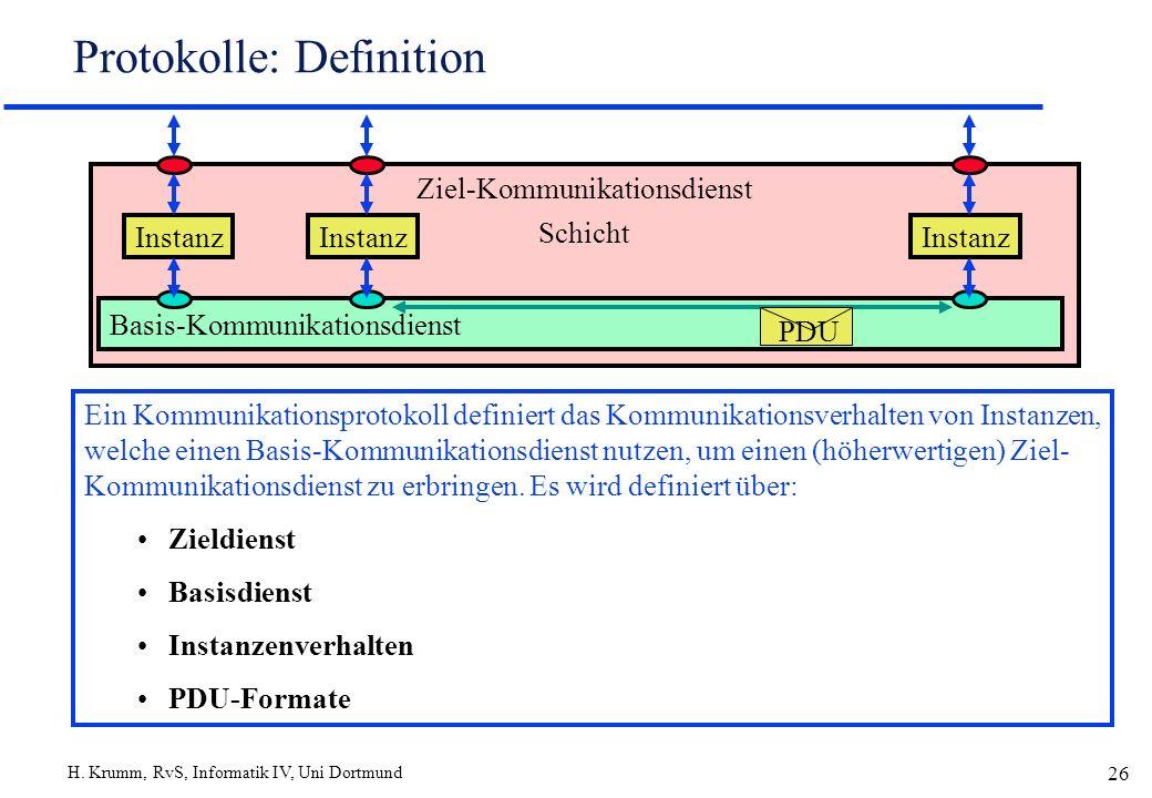 H. Krumm, RvS, Informatik IV, Uni Dortmund 26 Protokolle: Definition Ein Kommunikationsprotokoll definiert das Kommunikationsverhalten von Instanzen,