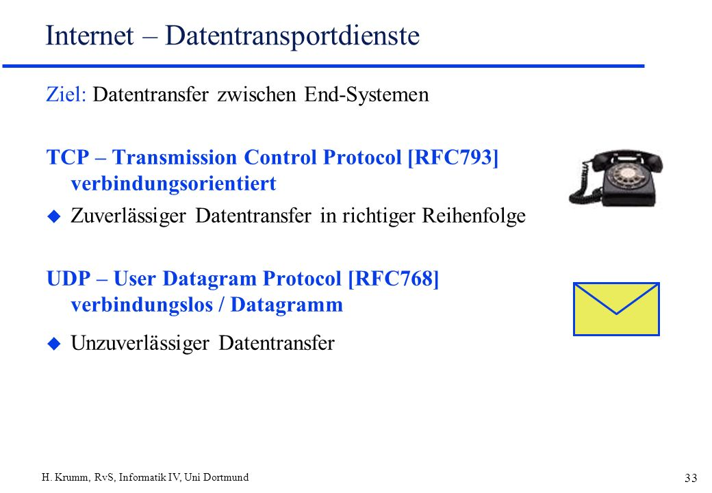 H. Krumm, RvS, Informatik IV, Uni Dortmund 33 Internet – Datentransportdienste Ziel: Datentransfer zwischen End-Systemen TCP – Transmission Control Pr