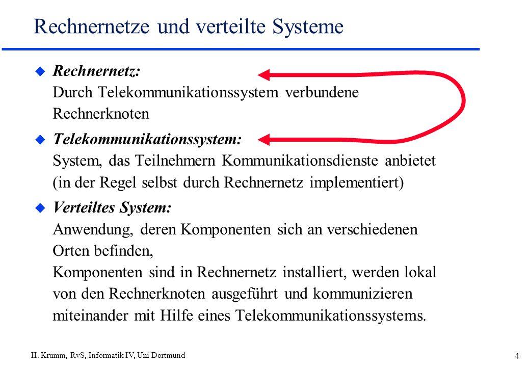 H. Krumm, RvS, Informatik IV, Uni Dortmund 4 Rechnernetze und verteilte Systeme u Rechnernetz: Durch Telekommunikationssystem verbundene Rechnerknoten