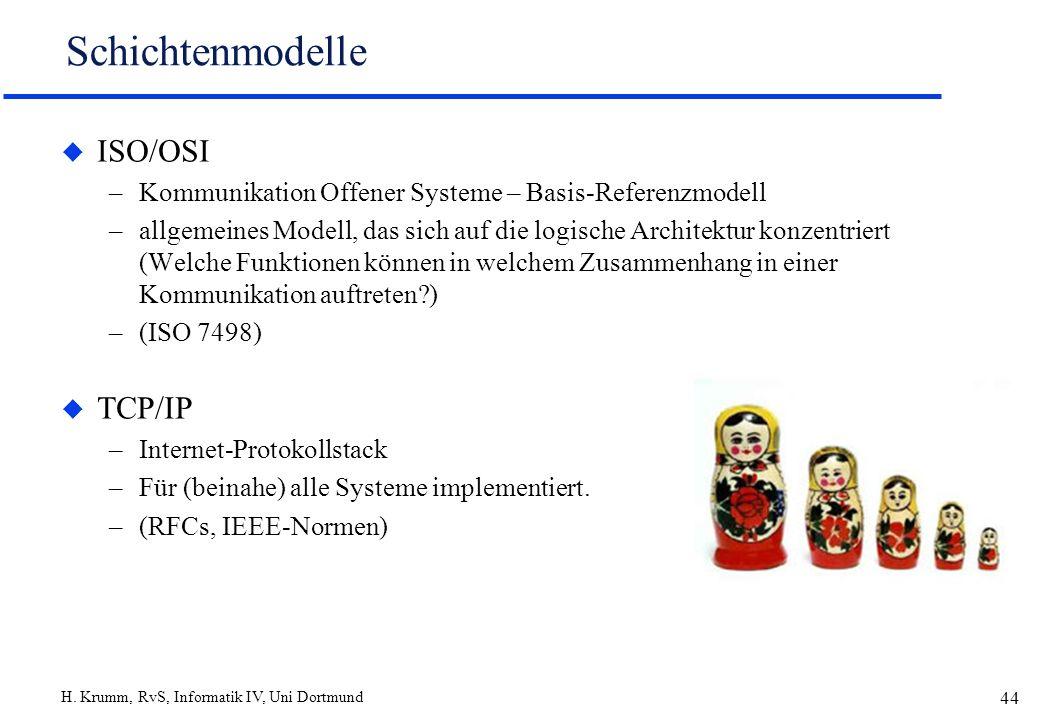 H. Krumm, RvS, Informatik IV, Uni Dortmund 44 Schichtenmodelle u ISO/OSI –Kommunikation Offener Systeme – Basis-Referenzmodell –allgemeines Modell, da