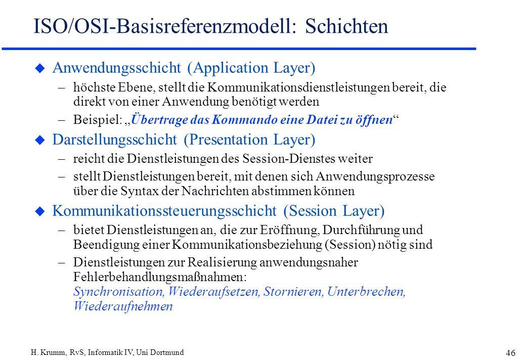 H. Krumm, RvS, Informatik IV, Uni Dortmund 46 ISO/OSI-Basisreferenzmodell: Schichten u Anwendungsschicht (Application Layer) –höchste Ebene, stellt di