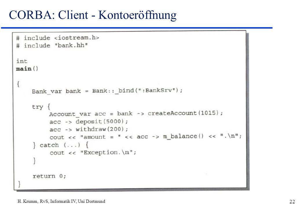 H. Krumm, RvS, Informatik IV, Uni Dortmund 22 CORBA: Client - Kontoeröffnung