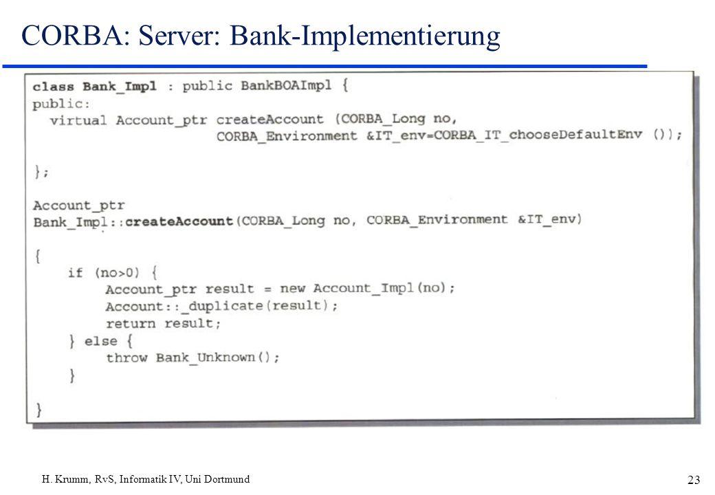 H. Krumm, RvS, Informatik IV, Uni Dortmund 23 CORBA: Server: Bank-Implementierung