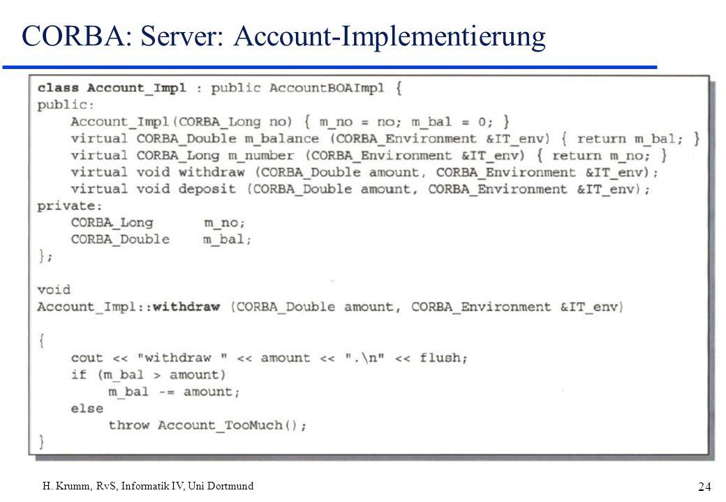 H. Krumm, RvS, Informatik IV, Uni Dortmund 24 CORBA: Server: Account-Implementierung