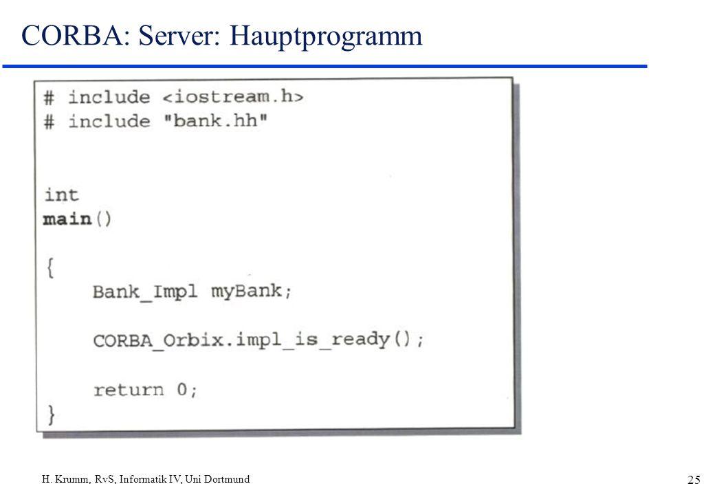 H. Krumm, RvS, Informatik IV, Uni Dortmund 25 CORBA: Server: Hauptprogramm