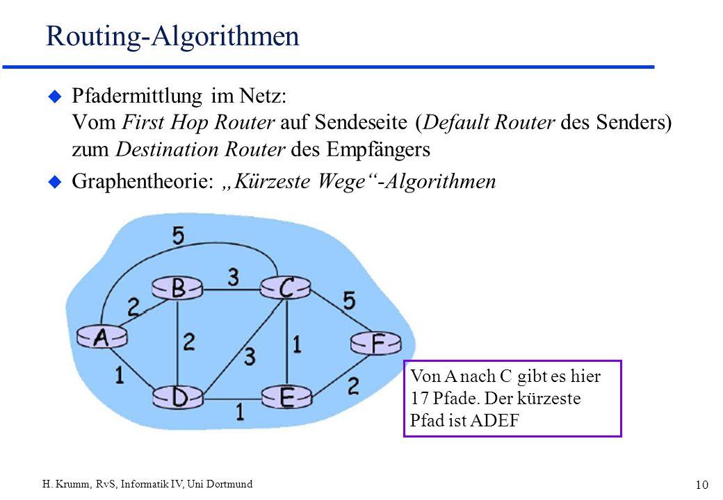H. Krumm, RvS, Informatik IV, Uni Dortmund 10 Routing-Algorithmen u Pfadermittlung im Netz: Vom First Hop Router auf Sendeseite (Default Router des Se