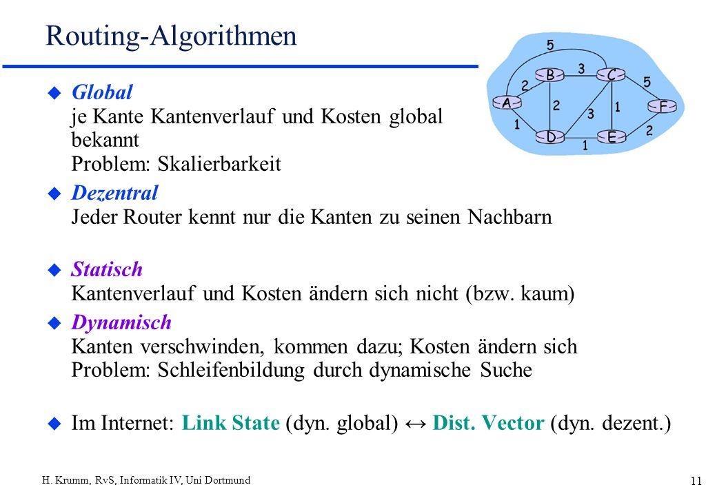H. Krumm, RvS, Informatik IV, Uni Dortmund 11 Routing-Algorithmen u Global je Kante Kantenverlauf und Kosten global bekannt Problem: Skalierbarkeit u
