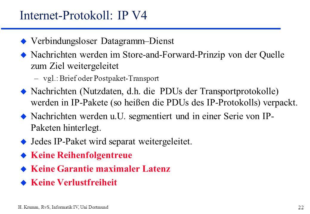 H. Krumm, RvS, Informatik IV, Uni Dortmund 22 Internet-Protokoll: IP V4 u Verbindungsloser Datagramm–Dienst u Nachrichten werden im Store-and-Forward-