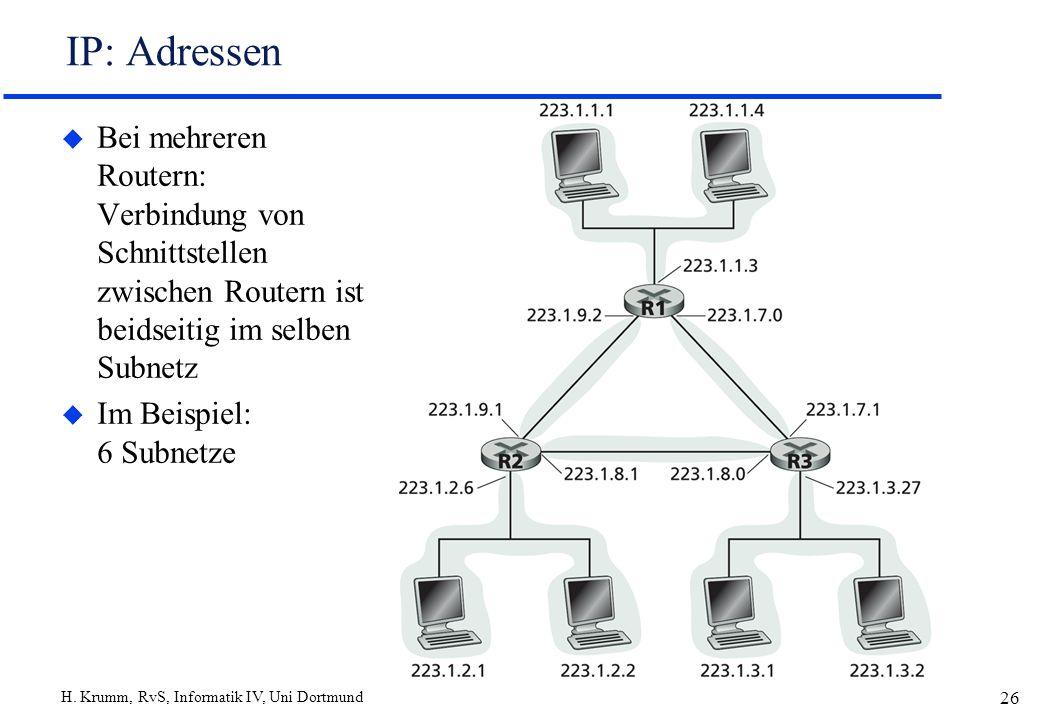 H. Krumm, RvS, Informatik IV, Uni Dortmund 26 IP: Adressen u Bei mehreren Routern: Verbindung von Schnittstellen zwischen Routern ist beidseitig im se