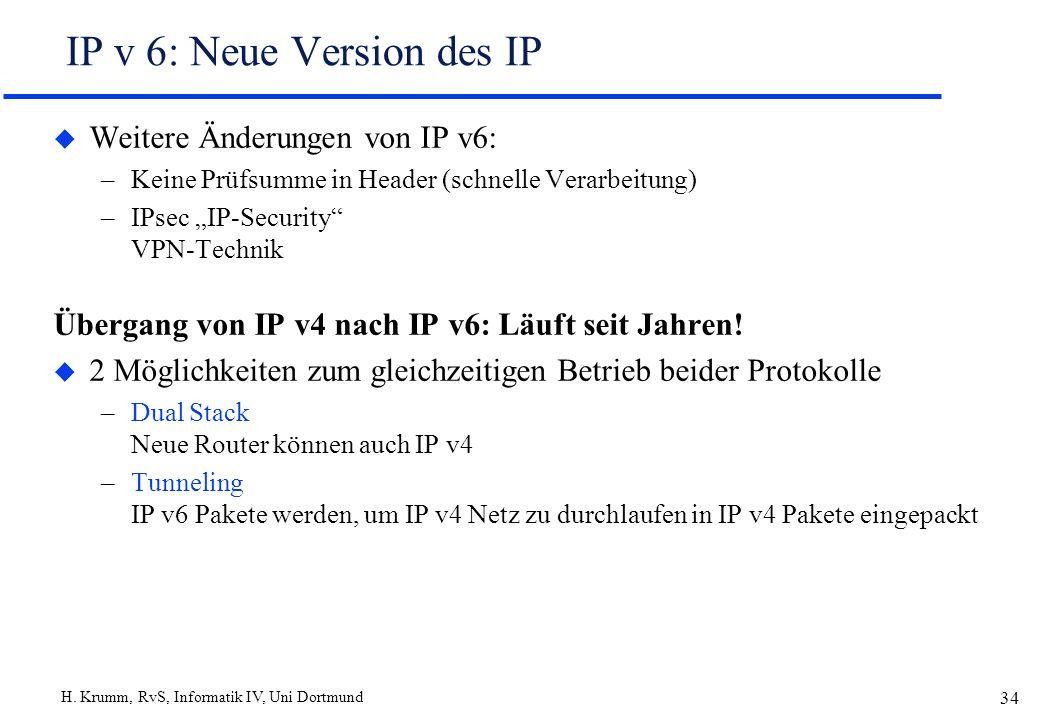 H. Krumm, RvS, Informatik IV, Uni Dortmund 34 IP v 6: Neue Version des IP u Weitere Änderungen von IP v6: –Keine Prüfsumme in Header (schnelle Verarbe