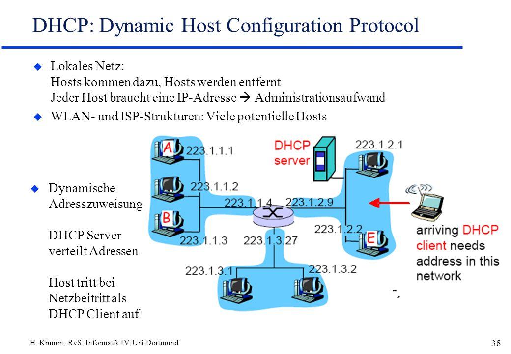 H. Krumm, RvS, Informatik IV, Uni Dortmund 38 DHCP: Dynamic Host Configuration Protocol u Lokales Netz: Hosts kommen dazu, Hosts werden entfernt Jeder