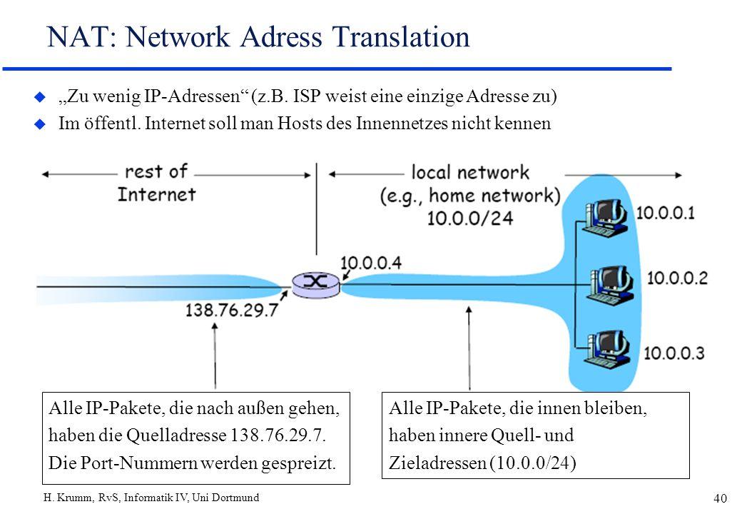 H. Krumm, RvS, Informatik IV, Uni Dortmund 40 NAT: Network Adress Translation u Zu wenig IP-Adressen (z.B. ISP weist eine einzige Adresse zu) u Im öff