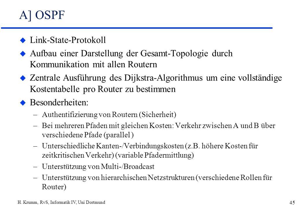 H. Krumm, RvS, Informatik IV, Uni Dortmund 45 A] OSPF u Link-State-Protokoll u Aufbau einer Darstellung der Gesamt-Topologie durch Kommunikation mit a