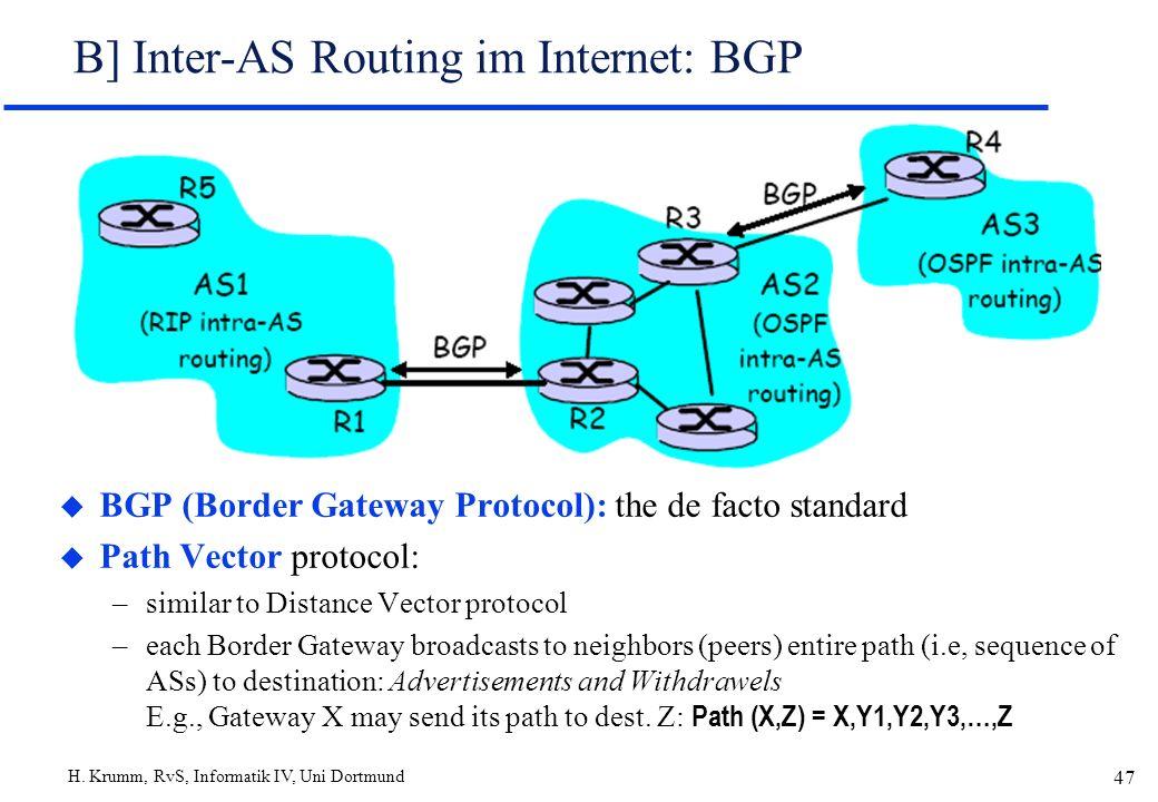 H. Krumm, RvS, Informatik IV, Uni Dortmund 47 B] Inter-AS Routing im Internet: BGP u BGP (Border Gateway Protocol): the de facto standard u Path Vecto