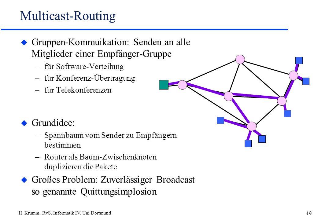 H. Krumm, RvS, Informatik IV, Uni Dortmund 49 Multicast-Routing u Gruppen-Kommuikation: Senden an alle Mitglieder einer Empfänger-Gruppe –für Software