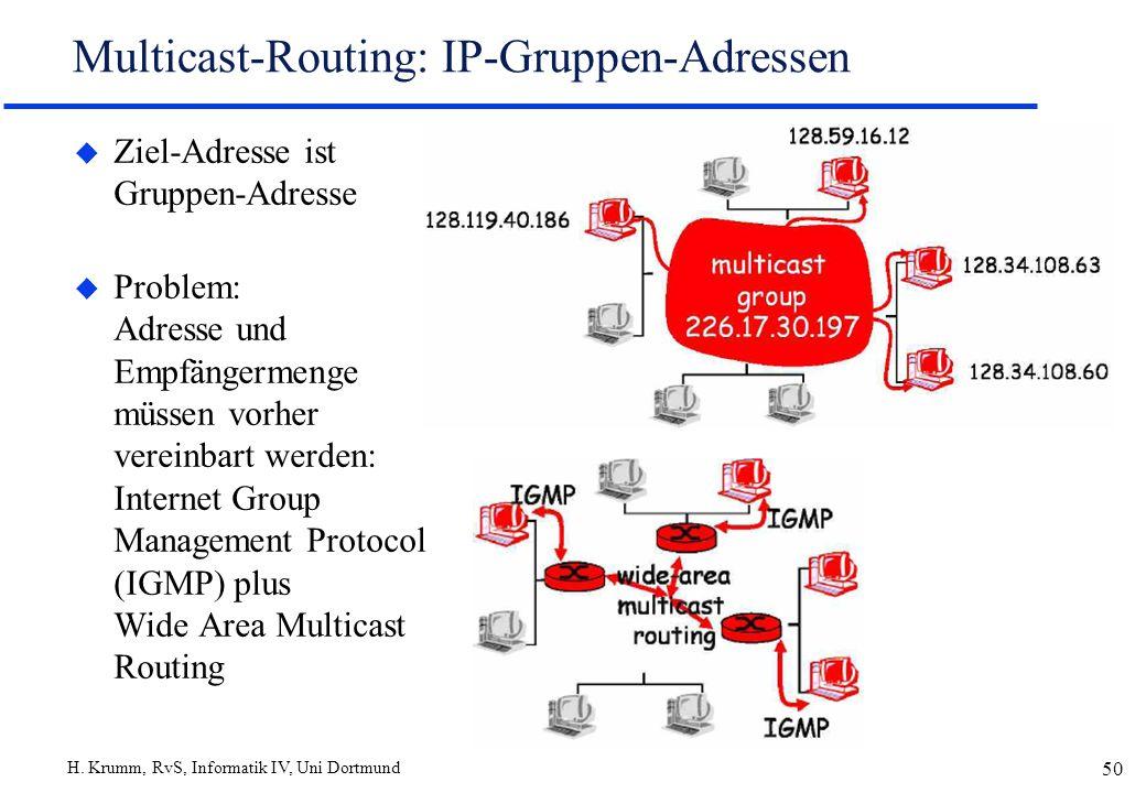 H. Krumm, RvS, Informatik IV, Uni Dortmund 50 Multicast-Routing: IP-Gruppen-Adressen u Ziel-Adresse ist Gruppen-Adresse u Problem: Adresse und Empfäng