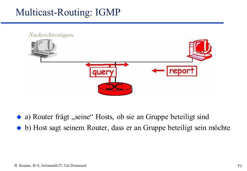 H. Krumm, RvS, Informatik IV, Uni Dortmund 51 Multicast-Routing: IGMP u a) Router frägt seine Hosts, ob sie an Gruppe beteiligt sind u b) Host sagt se
