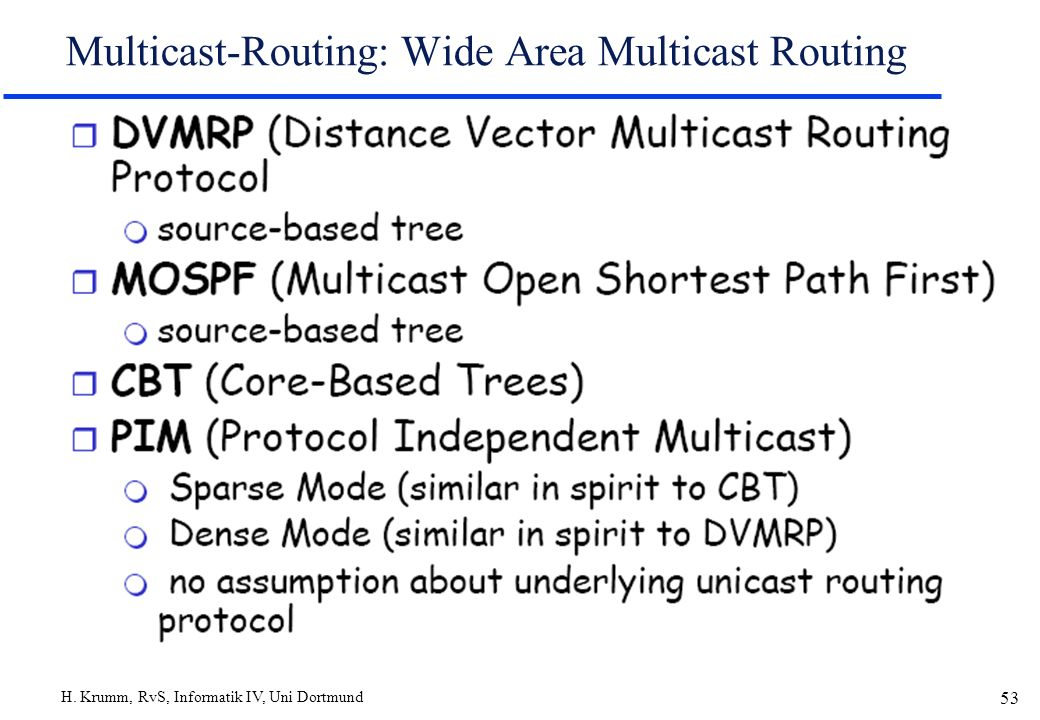 H. Krumm, RvS, Informatik IV, Uni Dortmund 53 Multicast-Routing: Wide Area Multicast Routing