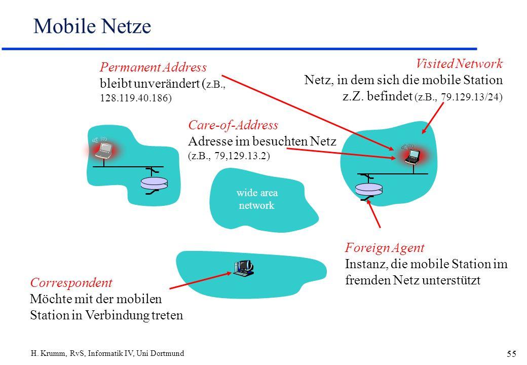 H. Krumm, RvS, Informatik IV, Uni Dortmund 55 Mobile Netze Care-of-Address Adresse im besuchten Netz (z.B., 79,129.13.2) wide area network Visited Net