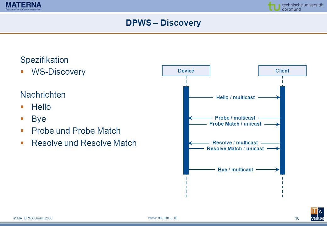 © MATERNA GmbH 2008 www.materna.de 16 DPWS – Discovery Spezifikation WS-Discovery Nachrichten Hello Bye Probe und Probe Match Resolve und Resolve Matc
