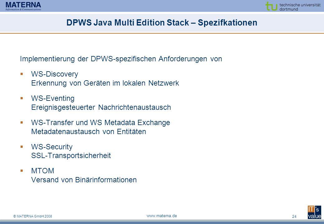 © MATERNA GmbH 2008 www.materna.de 24 DPWS Java Multi Edition Stack – Spezifkationen Implementierung der DPWS-spezifischen Anforderungen von WS-Discov