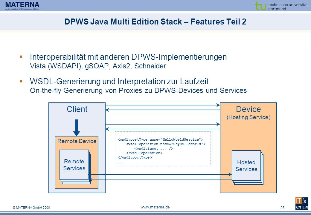 © MATERNA GmbH 2008 www.materna.de 26 Device (Hosting Service) Hosted Services Client DPWS Java Multi Edition Stack – Features Teil 2 Interoperabilitä