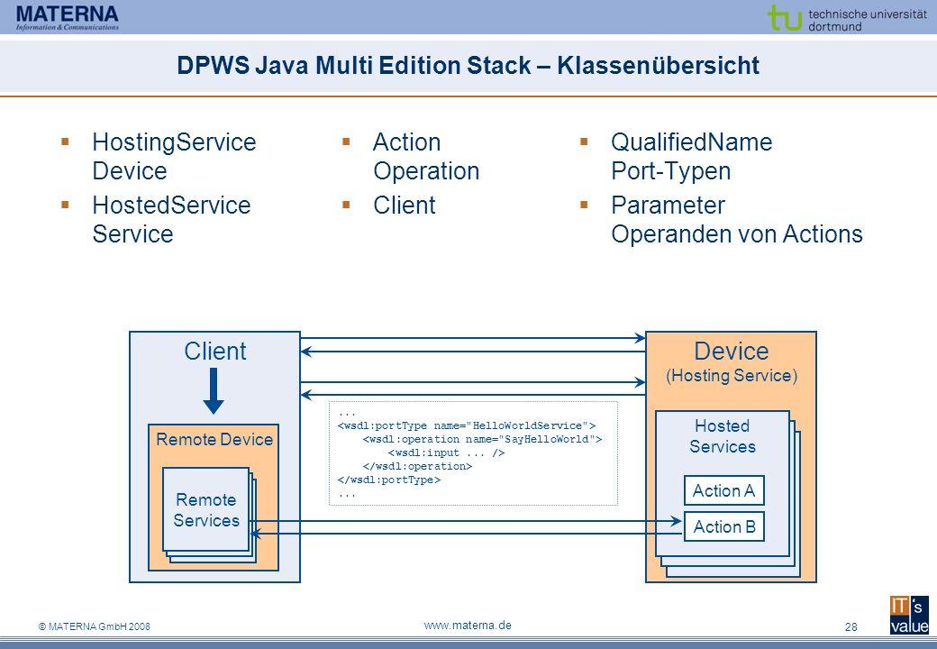 © MATERNA GmbH 2008 www.materna.de 28 DPWS Java Multi Edition Stack – Klassenübersicht HostingService Device HostedService Service QualifiedName Port-