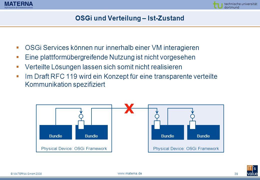 © MATERNA GmbH 2008 www.materna.de 39 OSGi und Verteilung – Ist-Zustand OSGi Services können nur innerhalb einer VM interagieren Eine plattformübergre
