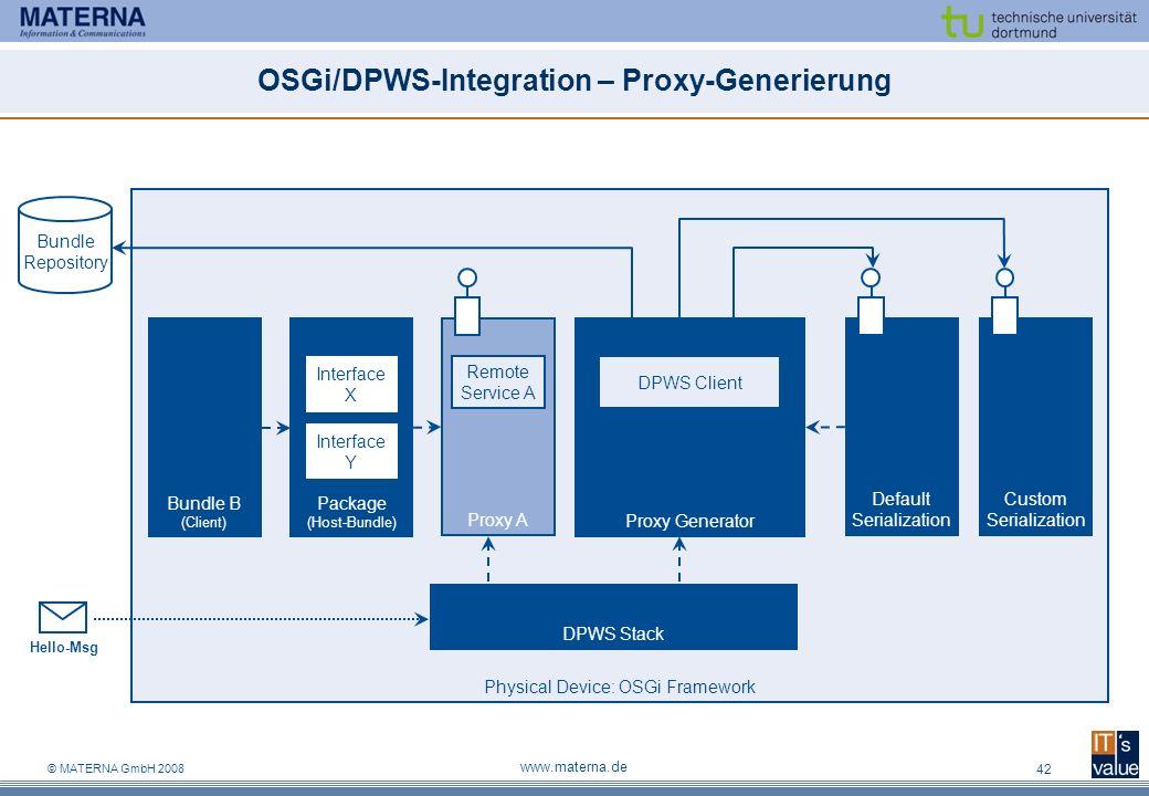 © MATERNA GmbH 2008 www.materna.de 42 OSGi/DPWS-Integration – Proxy-Generierung Physical Device: OSGi Framework Default Serialization Custom Serializa