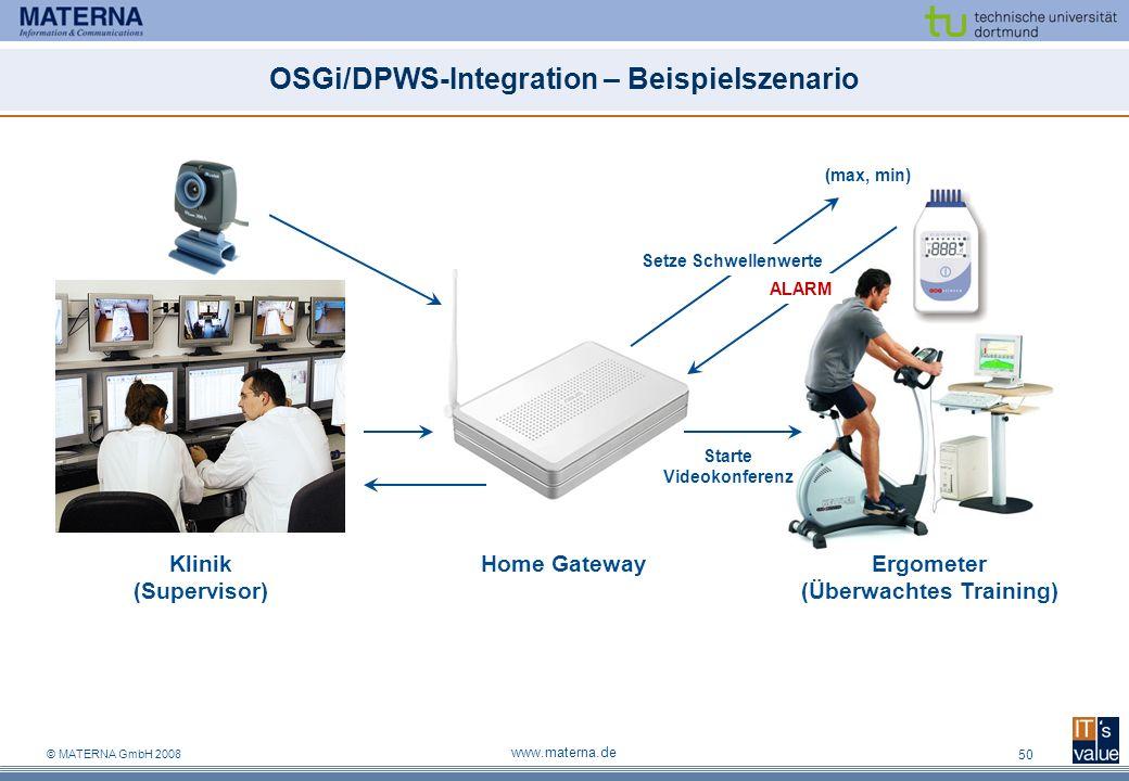 © MATERNA GmbH 2008 www.materna.de 50 OSGi/DPWS-Integration – Beispielszenario (max, min) Setze Schwellenwerte ALARM Home GatewayErgometer (Überwachtes Training) Klinik (Supervisor) Starte Videokonferenz