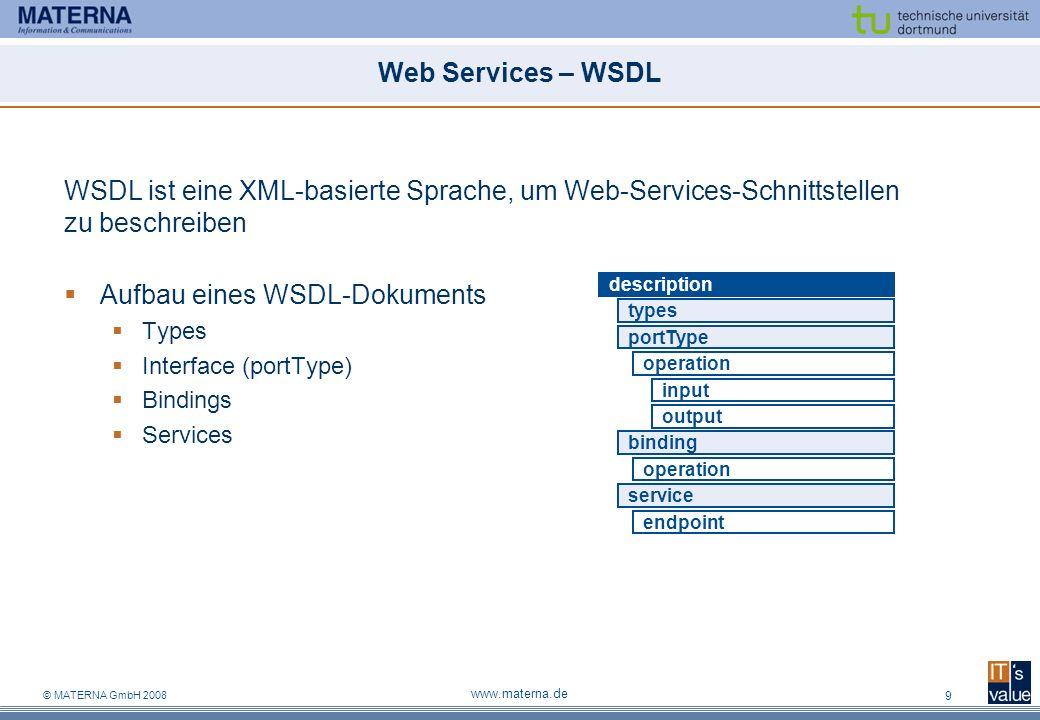 © MATERNA GmbH 2008 www.materna.de 10 Web Services – DPWS Problem Keine dynamische Suche von Diensten Keine Ereignisverarbeitung Keine Ressourcen-Optimierung