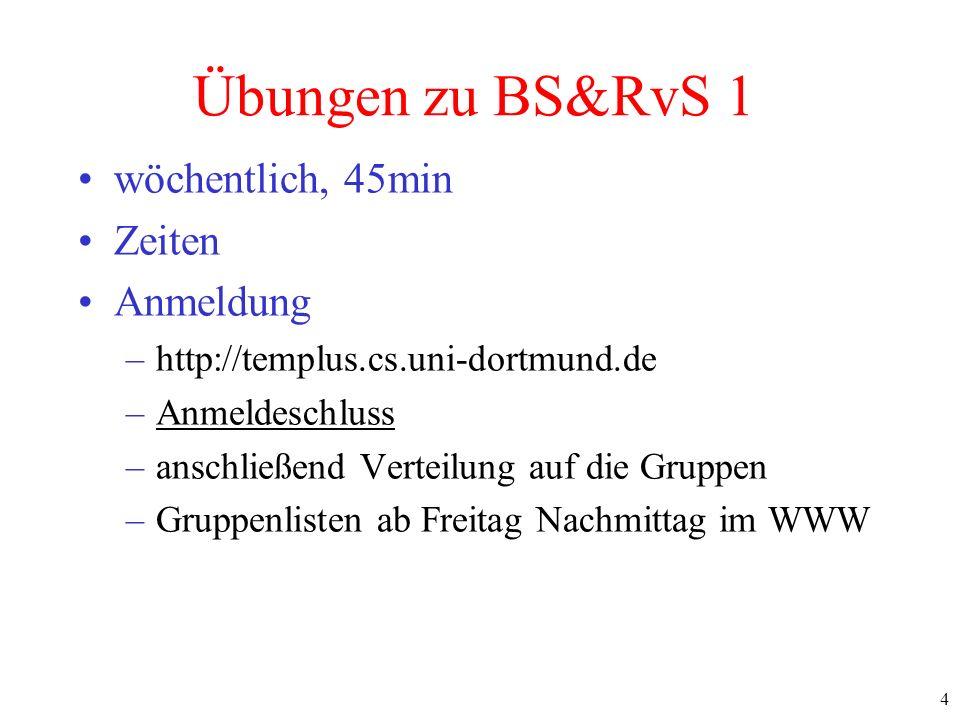 4 Übungen zu BS&RvS 1 wöchentlich, 45min Zeiten Anmeldung –http://templus.cs.uni-dortmund.de –Anmeldeschluss –anschließend Verteilung auf die Gruppen