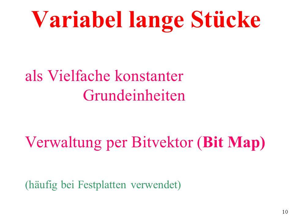 10 Variabel lange Stücke als Vielfache konstanter Grundeinheiten Verwaltung per Bitvektor (Bit Map) (häufig bei Festplatten verwendet)