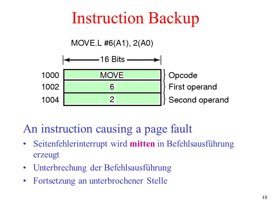 48 Instruction Backup An instruction causing a page fault Seitenfehlerinterrupt wird mitten in Befehlsausführung erzeugt Unterbrechung der Befehlsausf