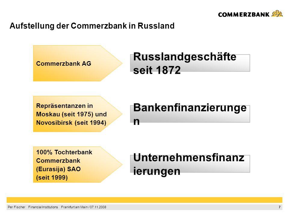7 Per Fischer Financial Institutions Frankfurt am Main / 07.11.2008 Aufstellung der Commerzbank in Russland Russlandgeschäfte seit 1872 Unternehmensfinanz ierungen Repräsentanzen in Moskau (seit 1975) und Novosibirsk (seit 1994) 100% Tochterbank Commerzbank (Eurasija) SAO (seit 1999) Commerzbank AG Bankenfinanzierunge n