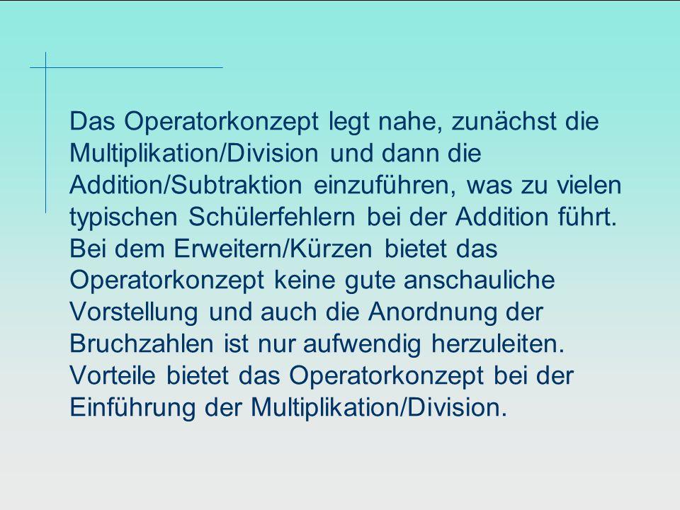 Das Operatorkonzept legt nahe, zunächst die Multiplikation/Division und dann die Addition/Subtraktion einzuführen, was zu vielen typischen Schülerfehl