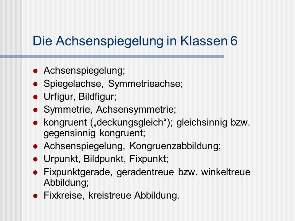 Die Achsenspiegelung in Klassen 6 Achsenspiegelung; Spiegelachse, Symmetrieachse; Urfigur, Bildfigur; Symmetrie, Achsensymmetrie; kongruent (deckungsg