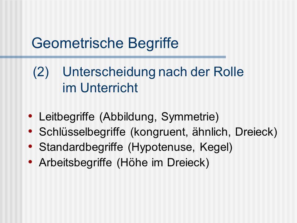 Geometrische Begriffe Leitbegriffe (Abbildung, Symmetrie) Schlüsselbegriffe (kongruent, ähnlich, Dreieck) Standardbegriffe (Hypotenuse, Kegel) Arbeits