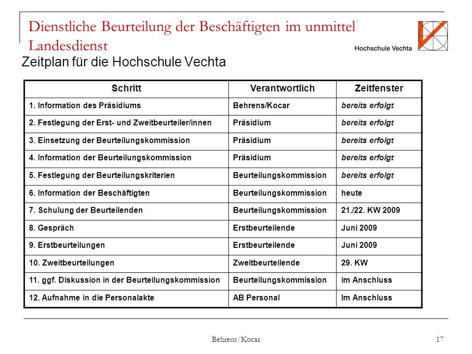 Behrens/Kocar 17 Dienstliche Beurteilung der Beschäftigten im unmittelbaren Landesdienst Zeitplan für die Hochschule Vechta SchrittVerantwortlichZeitfenster 1.