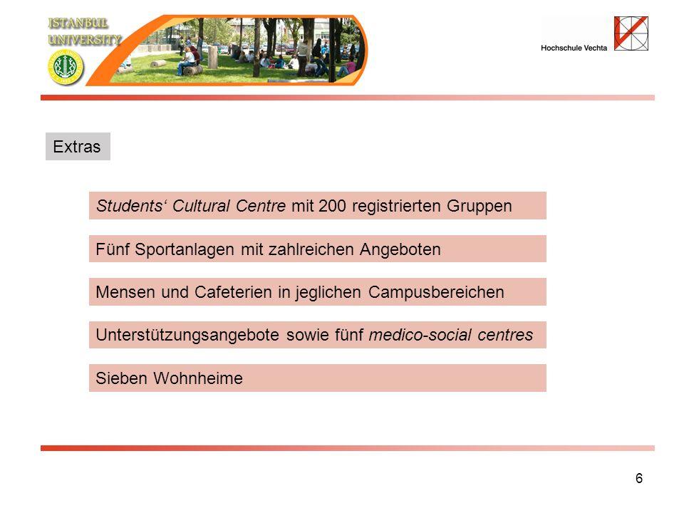 6 Students Cultural Centre mit 200 registrierten Gruppen Fünf Sportanlagen mit zahlreichen Angeboten Mensen und Cafeterien in jeglichen Campusbereichen Sieben Wohnheime Unterstützungsangebote sowie fünf medico-social centres Extras