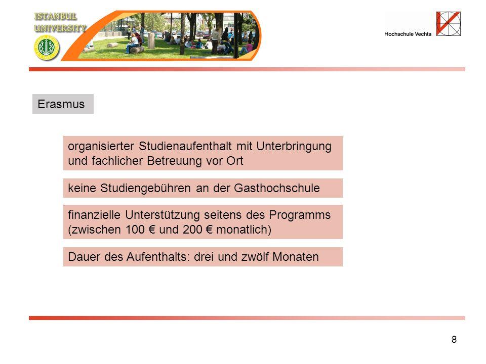 8 organisierter Studienaufenthalt mit Unterbringung und fachlicher Betreuung vor Ort keine Studiengebühren an der Gasthochschule Dauer des Aufenthalts: drei und zwölf Monaten Erasmus finanzielle Unterstützung seitens des Programms (zwischen 100 und 200 monatlich)