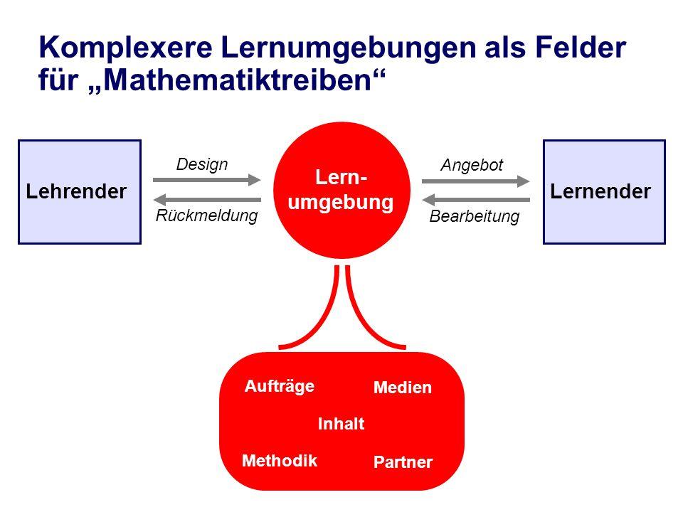 Lehrender Lern- umgebung Lernender Design Bearbeitung Rückmeldung Angebot Aufträge Medien Methodik Partner Inhalt Komplexere Lernumgebungen als Felder