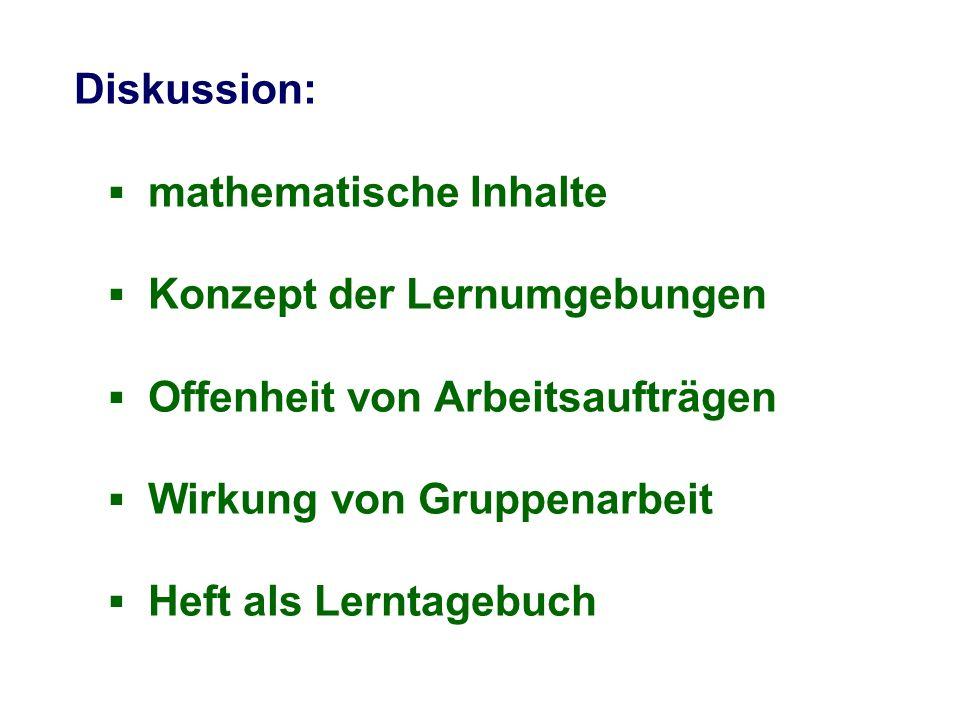 Diskussion: mathematische Inhalte Konzept der Lernumgebungen Offenheit von Arbeitsaufträgen Wirkung von Gruppenarbeit Heft als Lerntagebuch