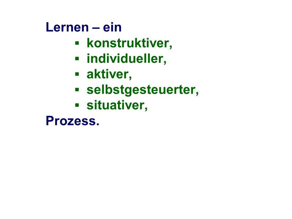 Lernen – ein konstruktiver, individueller, aktiver, selbstgesteuerter, situativer, sozialer Prozess.