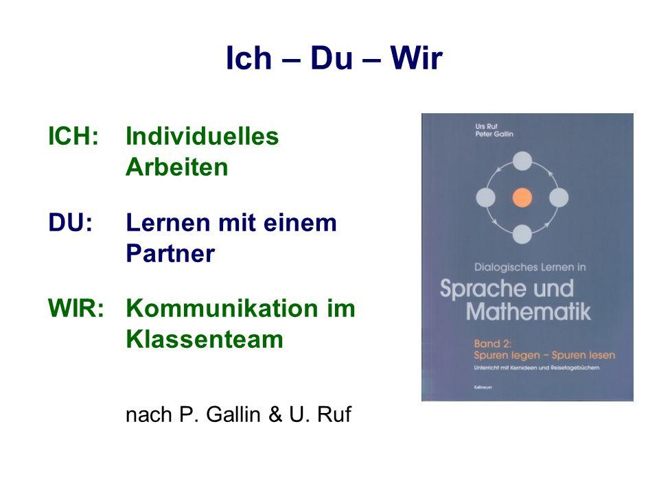 Ich – Du – Wir ICH:Individuelles Arbeiten DU:Lernen mit einem Partner WIR:Kommunikation im Klassenteam nach P. Gallin & U. Ruf