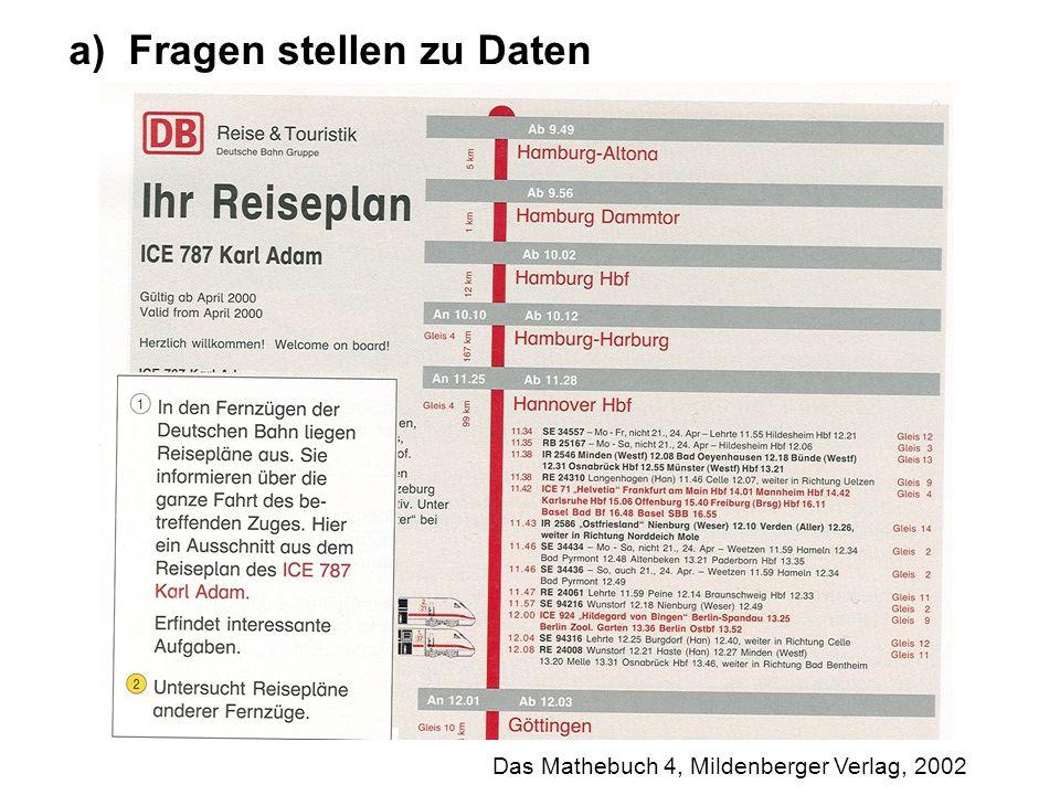 Das Mathebuch 4, Mildenberger Verlag, 2002 a)Fragen stellen zu Daten