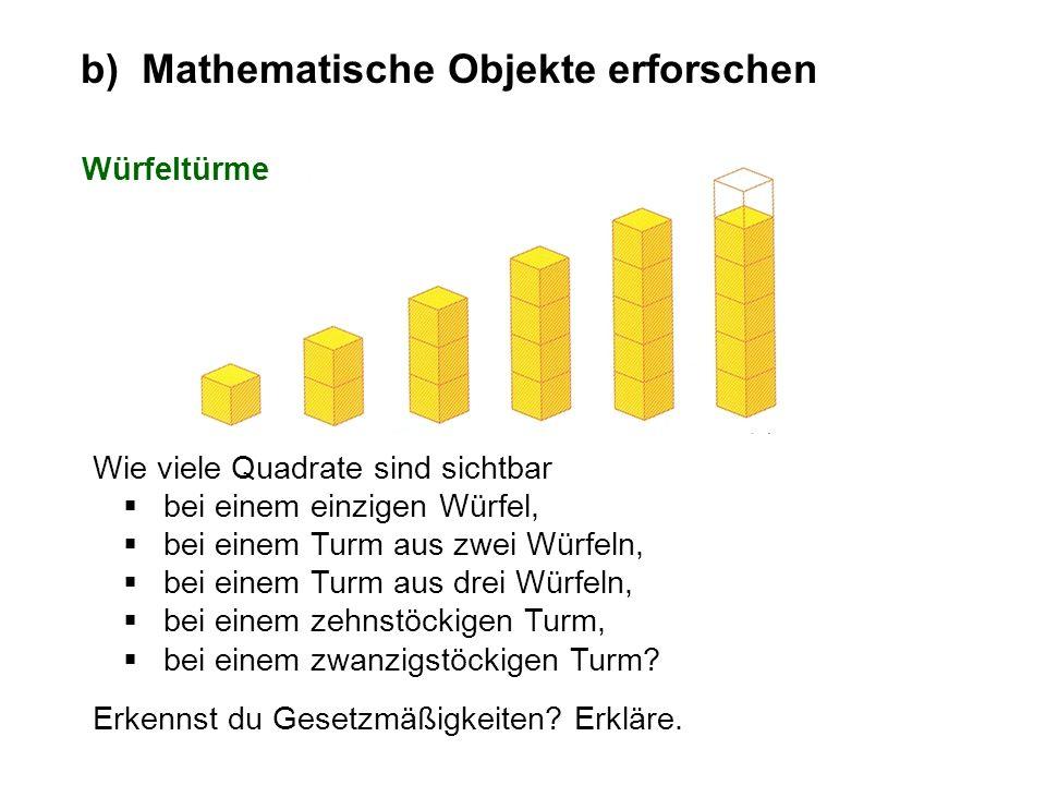 Wie viele Quadrate sind sichtbar bei einem einzigen Würfel, bei einem Turm aus zwei Würfeln, bei einem Turm aus drei Würfeln, bei einem zehnstöckigen